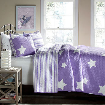 Lush Decor C22795P14-000 Star Purple Three-Piece King Quilt Set - (In No Image Available)