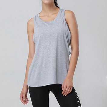 Running Vests Jogging CALOFE 2018 New Cross Straps s Women Fitness Tank Tops Grey Hollow Sexy Sport Shirts Exercise Workout Jogging Jersey KO_11_1