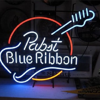 Pabst Blue Ribbon Guitar Neon Sign