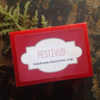 FESTIVUS Holiday Soap. Fresh Pine, Balsam, Blood Orange and Tangelo.