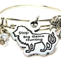 Stop Big Game Hunting On Lion Expandable Bangle Bracelet Set