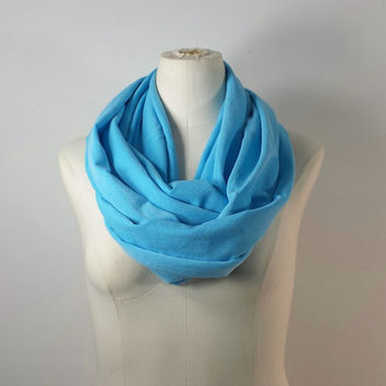 POOL BLUE Infinity Scarf - Light Turquoise Blue Eternity Scarf - Mykanos Blue - Lightweight Scarf