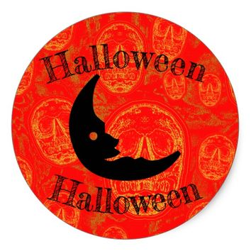 Halloween -Moon Classic Round Sticker