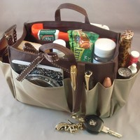 "Available in 4 Colors! Jolie Brown & Taupe Handbag Purse Organizer Travel Cosmetic Make-Up Tote Insert Dimensions: L 7.5""x H 6""x W 3.5"""
