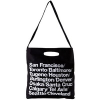 American Apparel Bull Denim Woven Cotton Cities Bag with Strap - Black / One Size:Amazon:Clothing