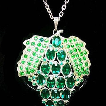 "Art Deco Strawberry Pendant Necklace Green Rhinestones Silver Metal 20"" Vintage"