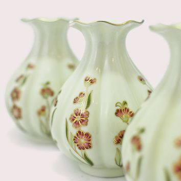 1960s Zsolnay Hungary Pecs Hand Painted Floral Porcelain Mini Vase Set of Three