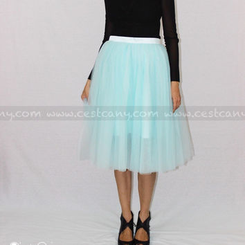 Colette - Turquoise Tulle Skirt, Baby Blue Tulle Skirt, Robin Egg Blue Skirt, Soft Tulle Skirt, Plus Size Tulle Skirt, Adult Tutu