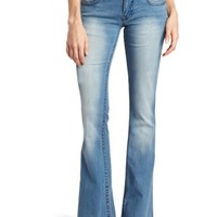 Vigoss Juniors Flare Embroidered Jean