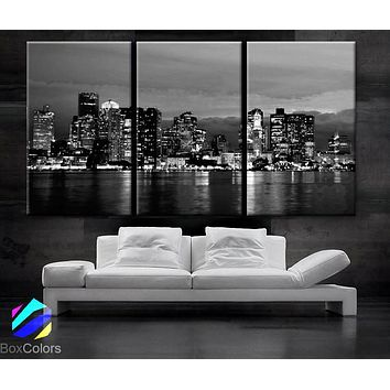 "LARGE 30""x 60"" 3 Panels Art Canvas Print beautiful Boston skyline Black & White Wall Home (Included framed 1.5"" depth)"