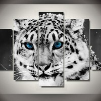White Baby Tiger 5-Piece Wall Art Canvas
