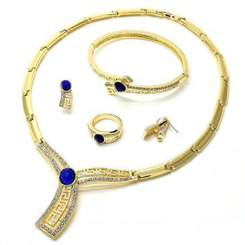 Gold Layered Necklace, Bracelet, Earring and Ring, Greek Key Design, with Crystal, Gold Tone