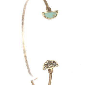Turquoise Half Moon Natural Stone Wire Cuff Bracelet