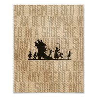 Burlap Vintage Old Woman Lived Shoe Nursery Rhyme Print from Zazzle.com