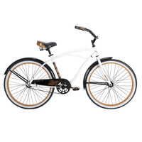 Men's 26-Inch Beach Cruiser Bike in White Black & Orange