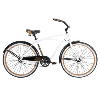 Mens 26-inch Beach Cruiser Bike in White Black and Orange