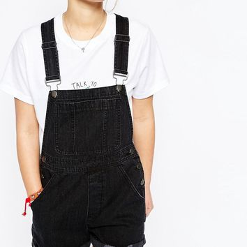 ASOS Denim Short Dungaree in Washed Black with Rips at asos.com