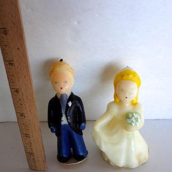 Vintage Bride And Groom Candles Cake Toppers Tavern Brand 1950s Some Wear