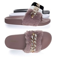Flatter16 Mauve Pink By Blossom, Furry Slip On Slipper Footbed Molded Platform & Rhinestone Metal Chain