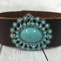 Leather, Bracelet, Brown, Cuff, Turquoise, Native American, Navajo, Western, Bohemian, Cowgirl, Country, Floral, Embossed, Southern, Boho