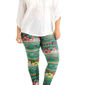 Women's Plus Size Green Floral Butterfly Print Leggings - Home Goods Galore