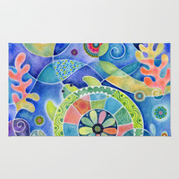 Sea Turtle Abstract Area & Throw Rug by Janet Broxon