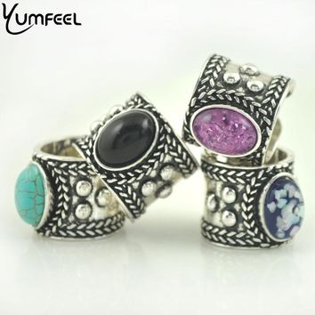 Vintage Punk Cuff Rings (4 Stone Colors)