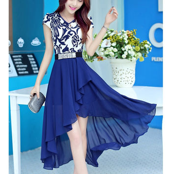 New 2016 Women Porcelain  Style Fashion Dress one piece Trendy Casual Summer Super Chiffon Dress Irregular Vestidos Blue Black