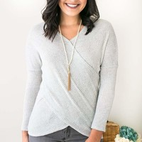 Always Faithful Cross Front Sweater in Grey