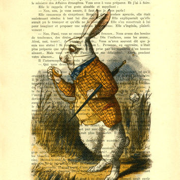 White Rabbit Alice in Wonderland Art Print on Vintage Dictionary Book page, down the rabbit hole, Alice in wonderland Children