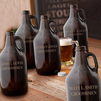 Personalized Growler set of 5 Craft Brew Personalized Amber Beer Growler Groomsmen Gift Manly gifts - 1204x5