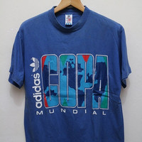 25% OFF Vintage ADIDAS Copa Mundial Tee T Shirt Blue Size M