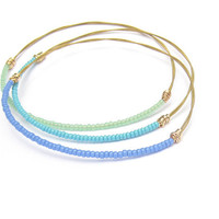 Blue Beaded Bangle Bracelet // Eco-Friendly Jewelry // Sky Blue Seed Beads, Gold Wire Wrap // Handmade // Recycled Jewelry // Music // Gift
