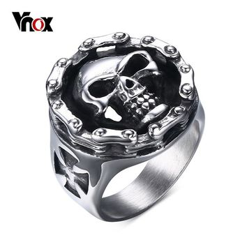 Vnox Punk Hollow Men Ring Bike Chain Design Cross Rings Stainless Steel Casting Male Jewelry Rock Hip-hop Chunky Alliance