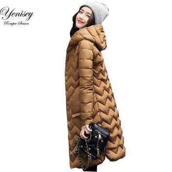 New winter women's feather padded in the long thin Korean slim Hooded Dress Coat Jacket jacket