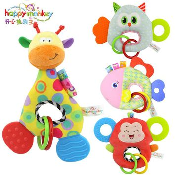 Happy Monkey New Bark Gum BB Dolls Baby Toys Newborns Creative Plush Toys hand bell WJ458