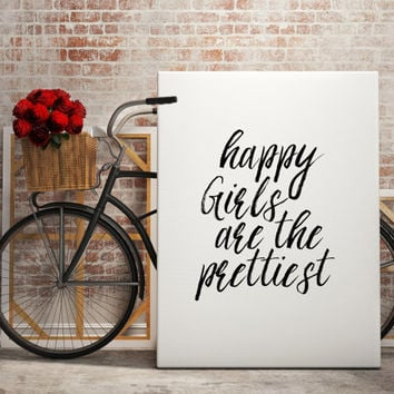 "Gift idea""Happy Girls Are The Prettiest""Wall decor Home art Teen Poster Room decor Instant Download For her Typography art Printable Quotes"
