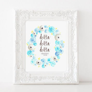 Tri Delta Delta Delta Sorority Watercolor Floral Print Big Little Gift