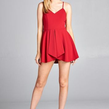V-Neck Mini Dress with Attached Shorts- Salsa