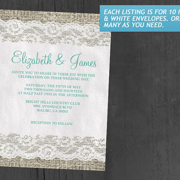 Aqua Rustic Lace Wedding Invitations | Invites | Invitation Cards
