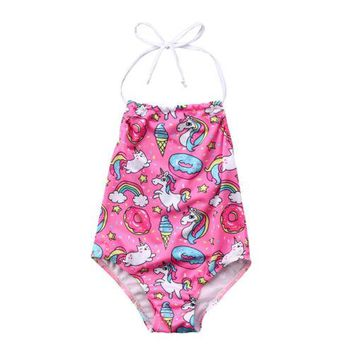 2018 Unicorn Baby Kids Girls Cartoon One-piece Swimsuit Babies Girls Beach Suit Swimsuits Swimwear Bathing Suit Clothing
