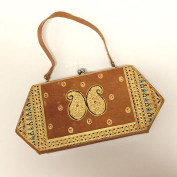 70s Tooled Leather Clasp Purse | Ethnic Hand Painted Gold Leaf Handbag with Banjara Indian Paisley Design | Retro Vintage Clutch Evening Bag