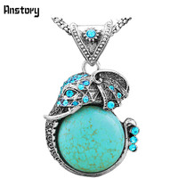 Vintage Look Antique Silver Plated Cute Blue  Crystal Turquoise Elephant  Pendant Necklace TN192