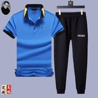 Fendi  Men and Women Fashion Black Leisure Tracksuit Two Piece Suit Set created created