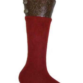 Heather Felt With Brown Faux Tool Leather Cuff Pvc Stocking With Pewter Buttons, Red