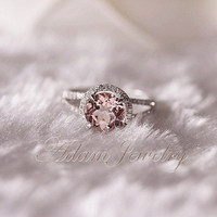 8mm Halo Morganite Ring 14k White Gold Pave Diamonds Ring/ Engagement Ring / Wedding Ring/ Anniversary Ring