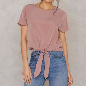 2017 Summer Women T-shirts O Neck Short Sleeve Casual Loose Solid Blusas Shirt Elegant Bow Slim Fitted Crop Tee Tops Plus Size