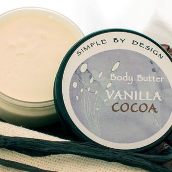 Large Vanilla Cocoa Whipped Body Butter, 8oz Natural Whipped Body Butter, Handmade gift idea!
