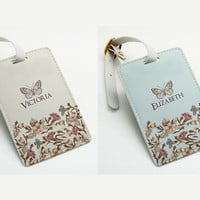 Two tags set - Personalised pu leather Luggage Tag, Office Tag, Travel Tag, School Bag Tag, Custom Name with straps, flower and butterfly