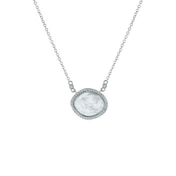 "Fronay Aquamarine Stone Slice Necklace in Sterling Silver: Length, 16""+2""Necklace"